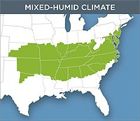 Map of the Mixed-Humid Climate which reaches from the coast of Maryland through North Carolina and sprawls to cover most of Kansas and Oklahoma.
