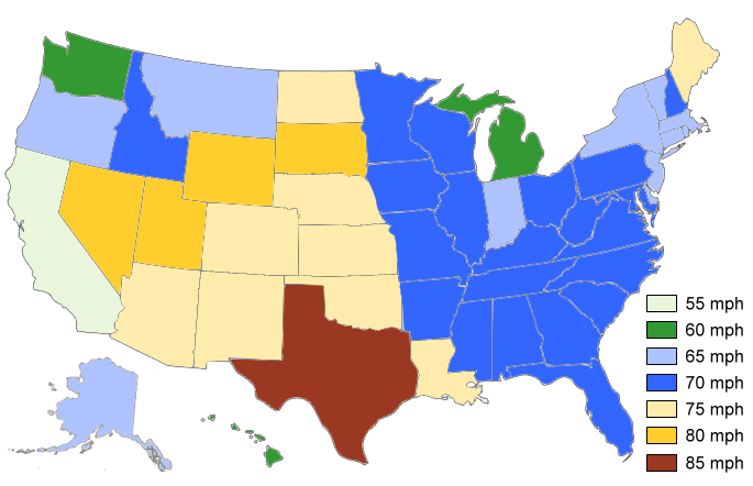 Map of the U.S. showing maximum daytime truck speed limits by state in 2016