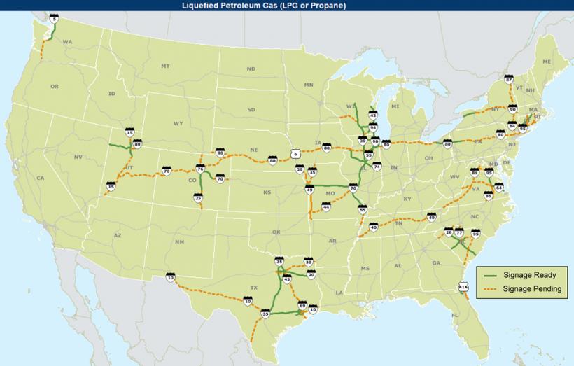 Liquefied Petroleum Gas (LPG) Corridor Map as of January 5, 2017