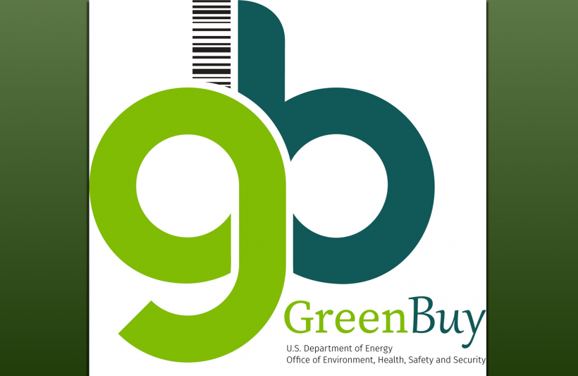 Dark Green Background with light green lowercase G and aqua colored lowercase B with black Department of Energy and Office of Environment, Health, Safety and Security text