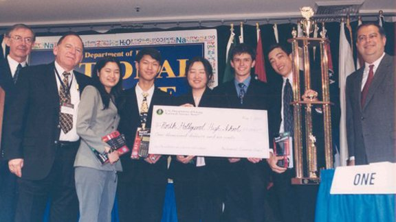 Julia Hu (third from left) with her teammates after winning the 2001 DOE National Science Bowl®.