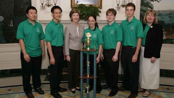 Francois Greer, second from right, and the team from State College Area High School were welcomed to the White House in 2008 by First Lady Laura Bush.