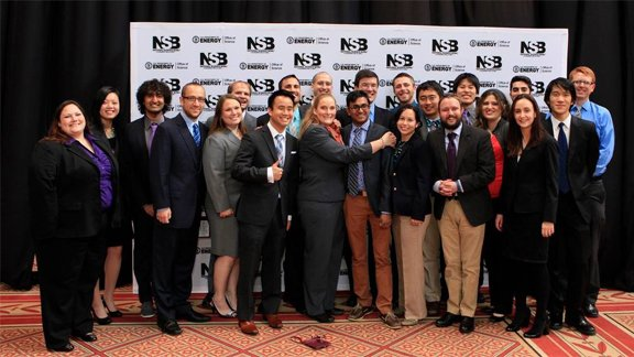 Jora Jacobi (5th from the left) volunteers annually at the National Science Bowl® Championship in Washington, D.C.