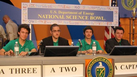 From left to right: Ian Scheffler, Marino Di Franco, Sasha (Alexandre) Boulgakov, and Dimitry Petrenko competed in the National Science Bowl® in Washington, D.C. for Santa Monica High School in 2008.