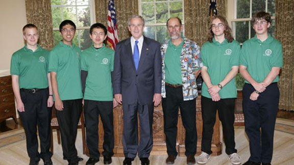 Poudre High School team member Sam Elder (far left) celebrates the win with a meeting with President George W. Bush in the Oval Office.