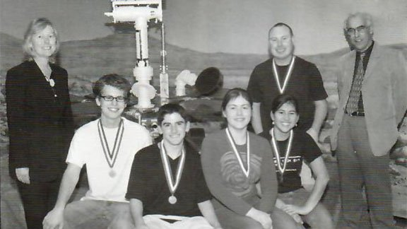 Seated from left, the Santa Monica High School 2004 National Science Bowl team: Rem Koning, Matthew Gilbert-Hamerling, Donna Ivry, and Emily Martinez.