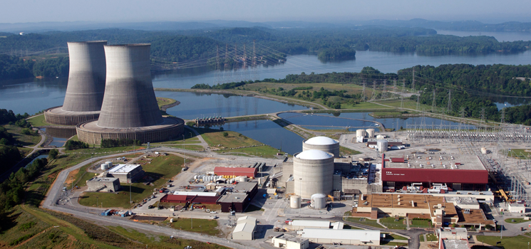 Aerial view of a nuclear power plant.
