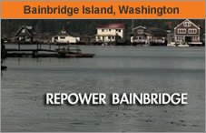 """Graphic with a photo of the water in Bainbridge Island, Washington, and the words """"Repower Bainbridge."""""""