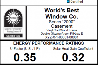 Energy Performance Ratings for Windows, Doors, and Skylights