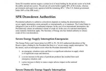 Statutory Authority for an SPR Drawdown