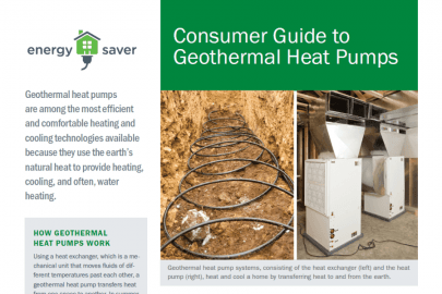 Consumer Guide to Geothermal Heat Pumps Fact Sheet