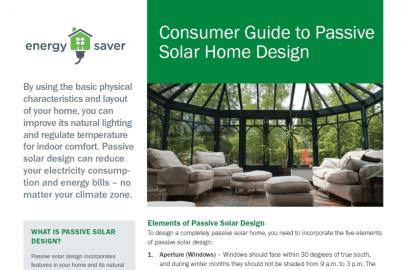 Consumer Guide to Passive Solar Home Design Fact Sheet