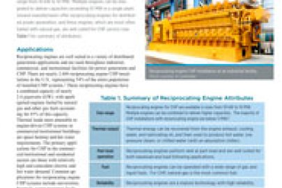 Reciprocating Engines CHP Technology Fact Sheet - July 2016