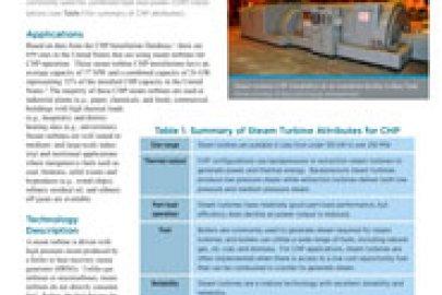 Steam Turbines CHP Technology Fact Sheet, July 2016