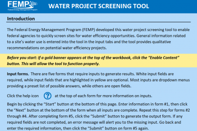 Water Project Screening Tool