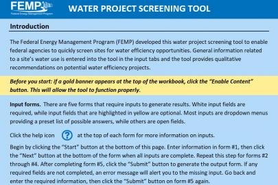 Water Project Screening Tool