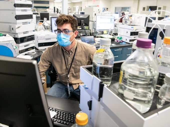 National Renewable Energy Laboratory researcher works in Field Test Laboratory Building (FTLB) Lab 140, he is part of the limited essential research staff moving from idle laboratories to essential-operations mode.
