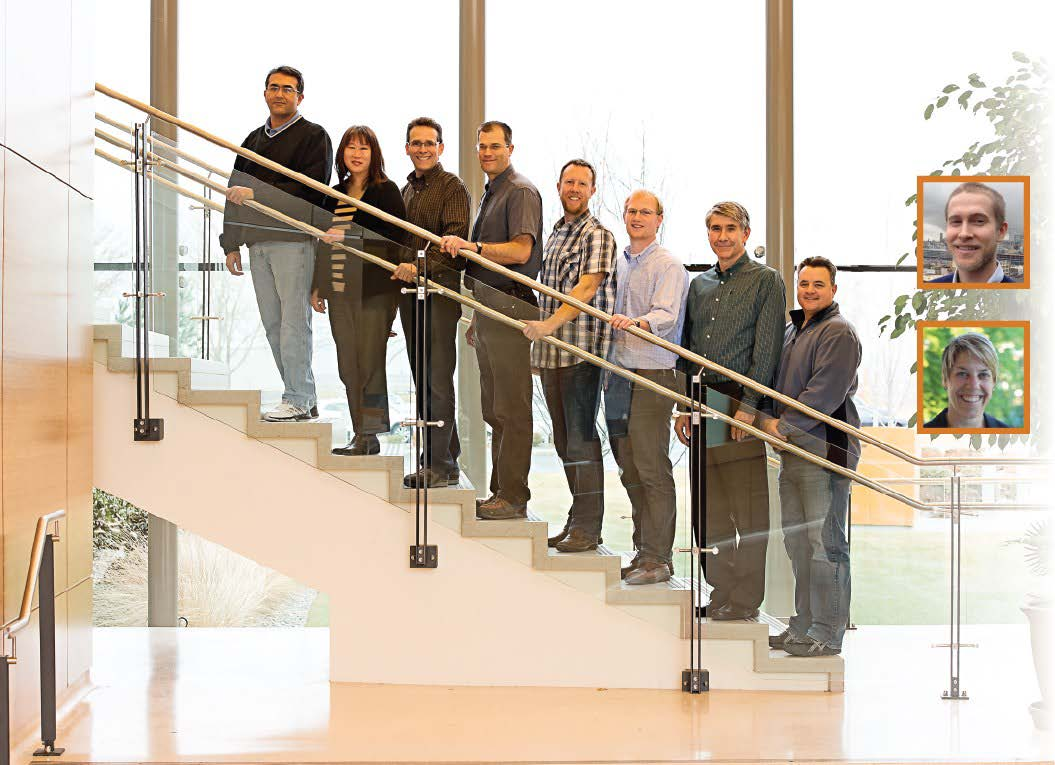 Photo of eight men and women standing on a stairway smiling. There are insets of two additional people on the right side: a man and woman
