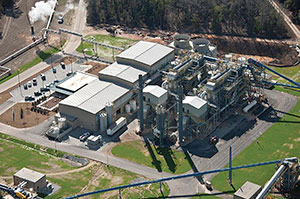 Aerial image of Savannah River's biomass-fueled steam cogeneration plant.