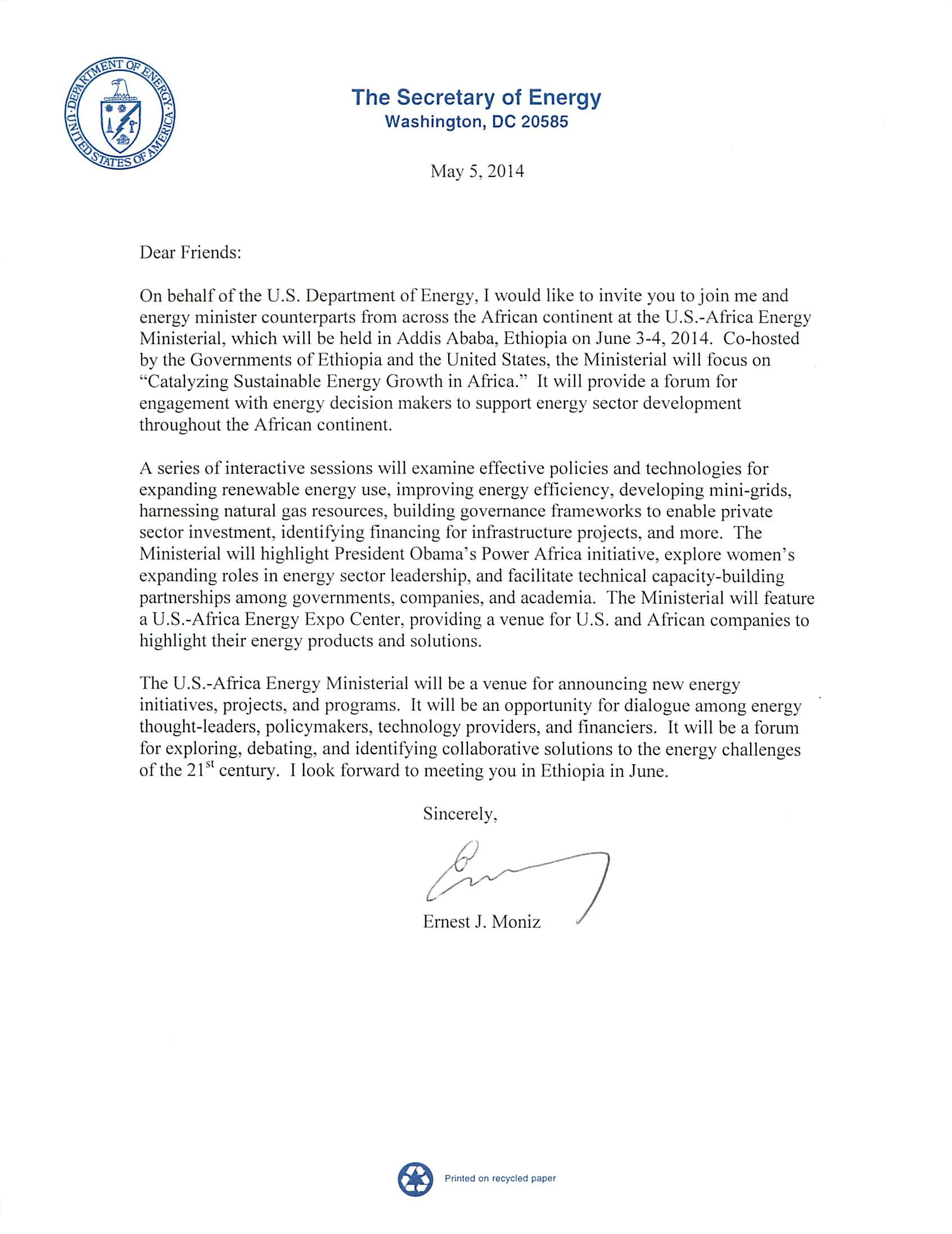 Secretary Moniz's Open Invitation Letter to AEM | Department of Energy