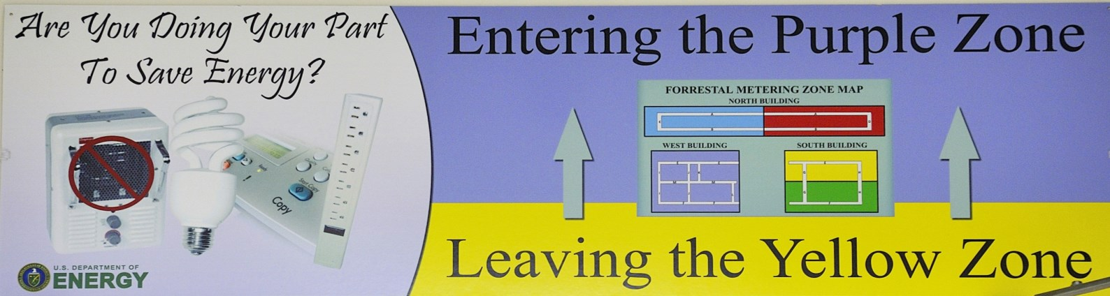 Graphic of a sign that reads: Are you doing your part to save energy? Entering the purple zone, leaving the yellow zone.