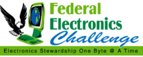 Graphic of the Federal Electronics Challenge logo with an eagle landing on a computer keyboard - Electronics stewardship one byte at a time.
