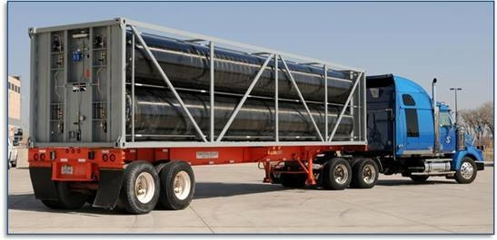 Photo of a composite tube trailer carrying hydrogen.