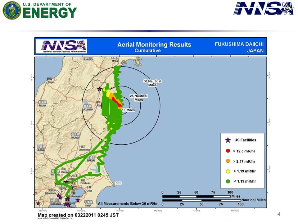 The Situation In Japan Updated Department Of Energy - Us radiation map