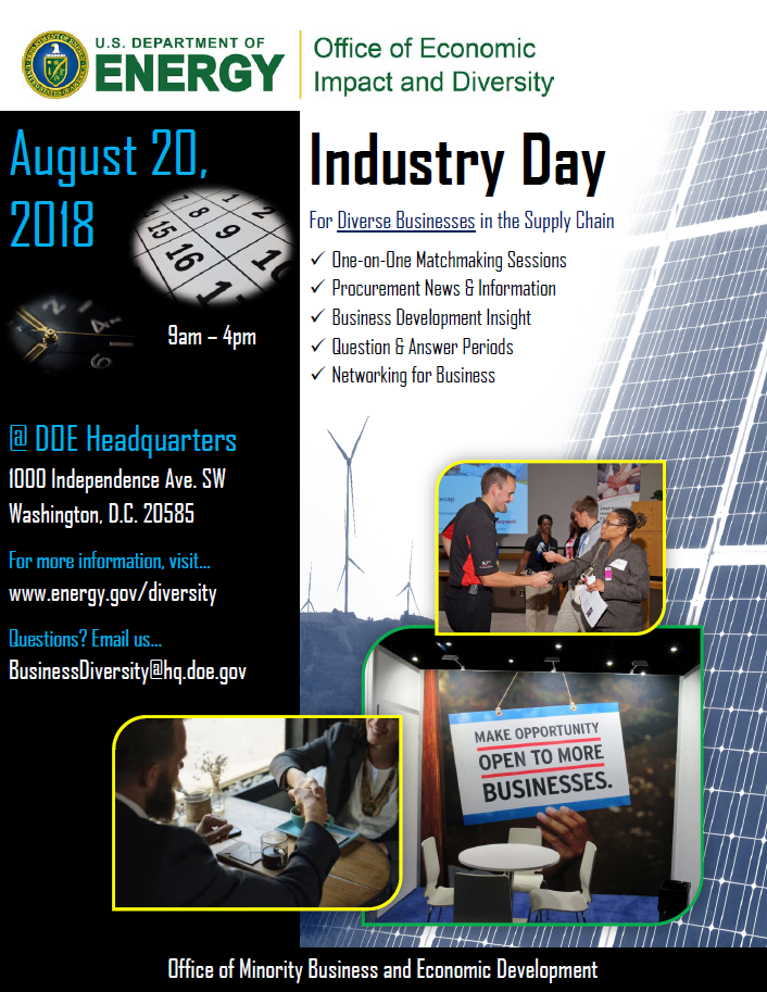 Flyer for  Industry Day; August 20 2018