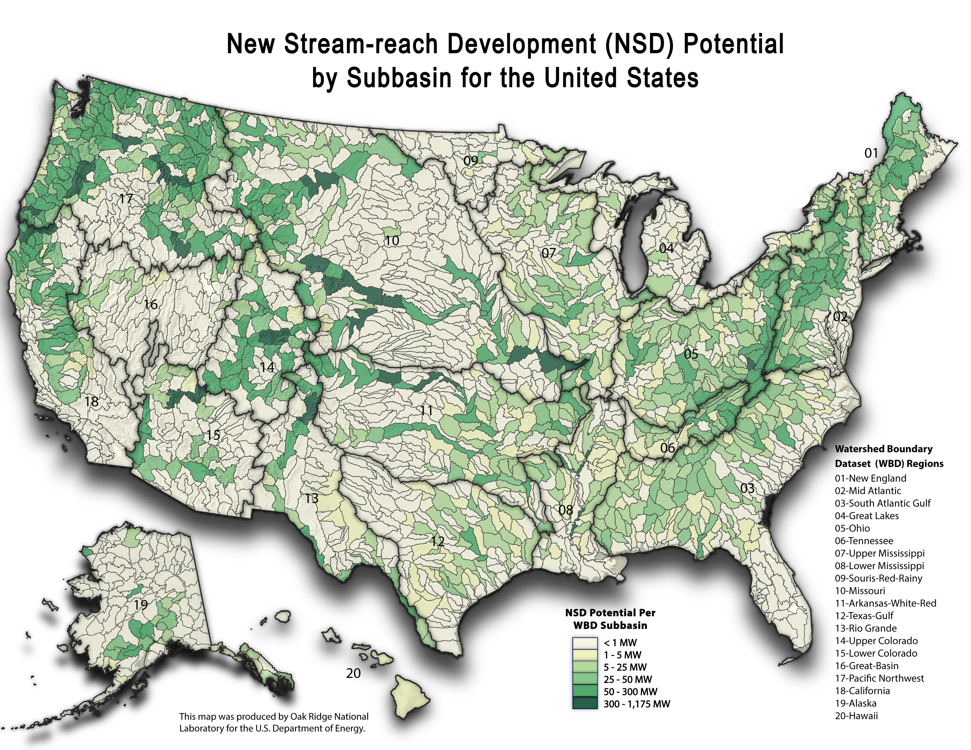 Map of new stream-rich development (SRD) potential by subbasin for the United States