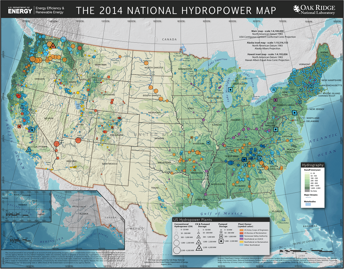 An illustrated map of the United States showing the location of various hydropower resources.