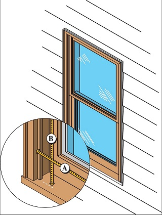 Graphic showing a window on the exterior wall of a house. An enlarged cutout box shows two measurements, A and B, of the edges of the window casing.