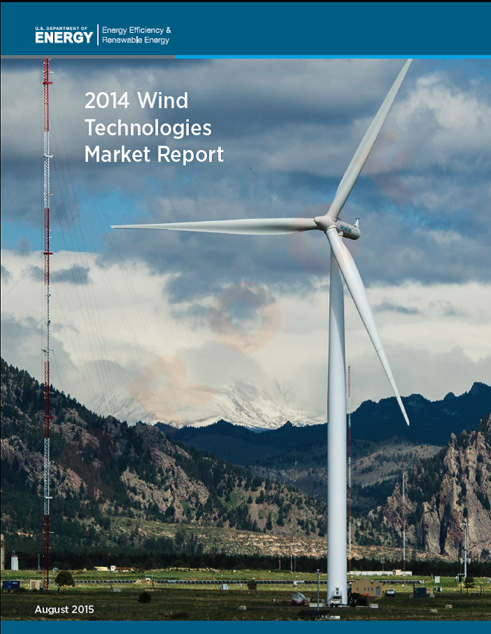 A screenshot of the cover of the 2014 Wind Technologies Market Report.