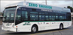 Photo of zero emission hydrogen fuel cell bus at AC Transit.