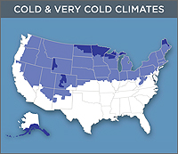 Map Of The Cold Very Cold Zones Of The United States The Far Tips
