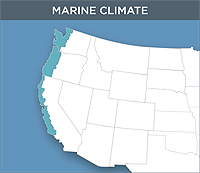 Map Of The Marine Climate Zone Of The United States This Zone Contains The Far