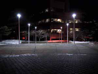 Photo at night of an empty street or parking lot with two rows of bright streetlights.