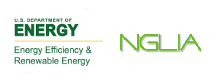 Image containing the DOE logo and the NGLIA logo.  The DOE logo is a green ring containing the words 'Department of Energy United States of America', and in the center of the ring is a shield containing images representing various energy sources, with the head of an eagle on top of the shield; to the right is the NGLIA logo, consisting simply of the letters of the acronym.