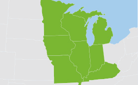 Map highlighting the Midwest states: Minnesota, Wisconsin, Michigan, Iowa, Illinois, Indiana, Missouri, and Kentucky