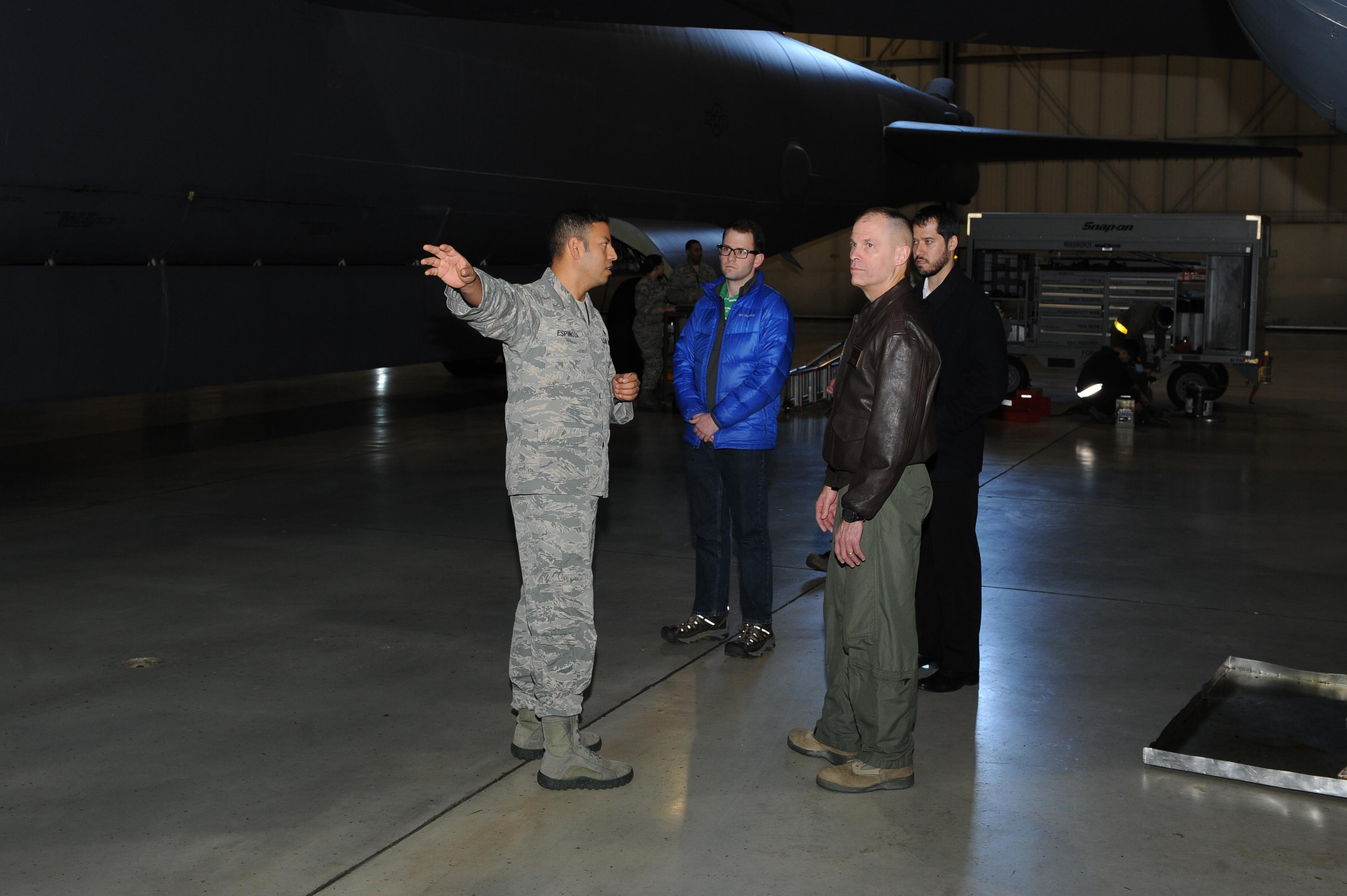 Lutton receives a tour of Dock 7 at Minot Air Force Base. Lutton received an external and internal tour of a B-52H Stratofortress.