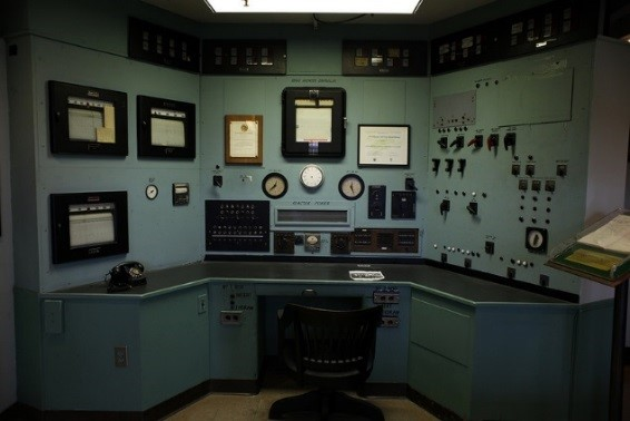The control room of the X-10 Graphite Reactor,, a pilot nuclear reactor that produced small quantities of plutonium.