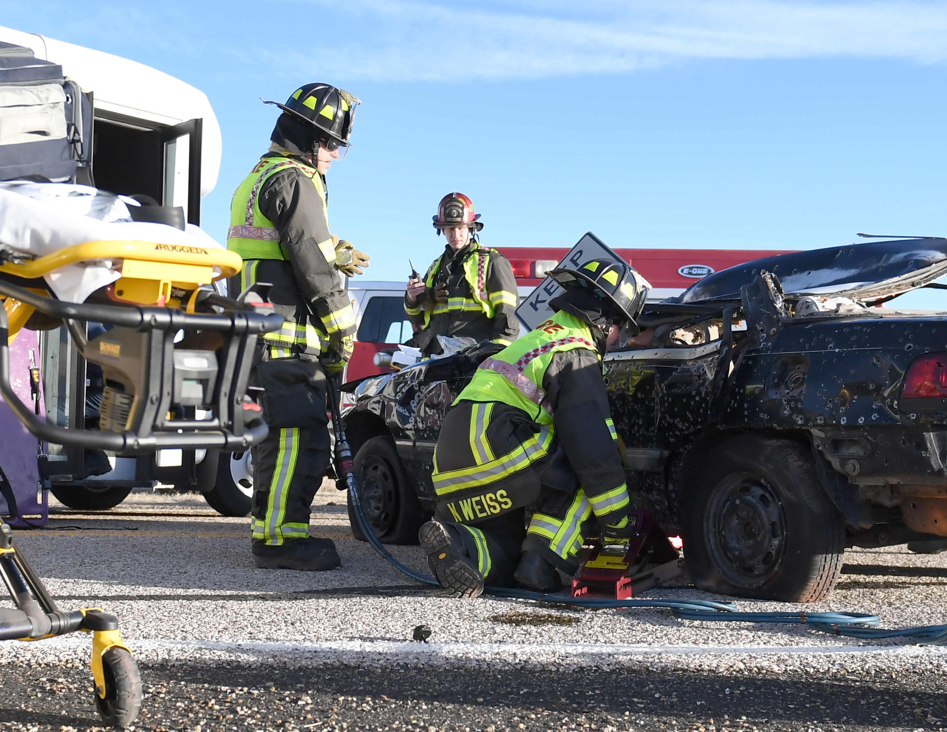 The Pantex Fire Department responds to a simulated car accident during the exercise.