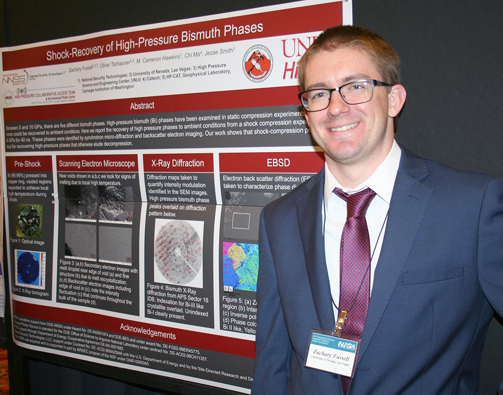 Zachary Fussell, University of Nevada, Las Vegas, showcases his research on shock-compression physics.