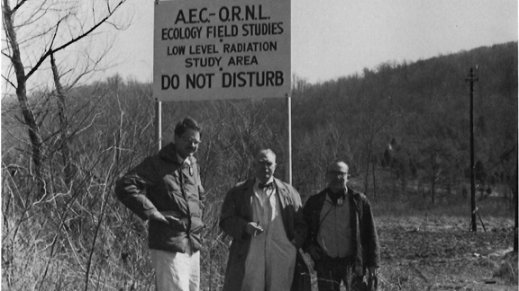 Visit of Orlando Park (Northwestern University) to the newly created agricultural plot on upper White Oak Lake bed below waste pits 2 and 3 in 1959.