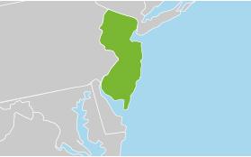 Map highlighting New Jersey