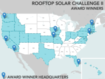 Image of a map showing the location of Rooftop Solar Challenge II teams.