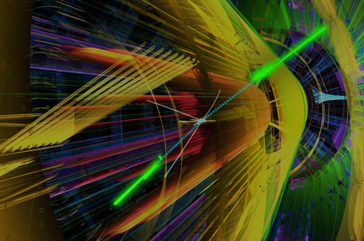 Uma simulação do canal de dois fótons mostra o que ATLAS vê quando a decadência de um bóson de Higgs resultados na produção de dois raios gama.  As contas azuis indicam intermediários partículas maciças, e as hastes verdes brilhantes são as faixas de raios-gama.  Enquanto o canal de dois fótons é o menos provável decadência de Higgs, que é mais fácil de observar do que outros com origens ainda mais ruidosos.  | Foto cortesia de Lawrence Livermore National Lab