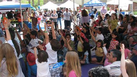 Kids attending Rancho Cucamonga's Earth Day celebration volunteer their answers at an educational program. | Photo courtesy of Joshua Torres, city of Rancho Cucamonga