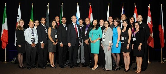 Florida International University's DOE Fellows gather for a photo with DOE Senior Advisor for Environmental Management David Huizenga (eighth from left) and DOE Fellows director, Dr. Leo Lagos (tenth from left), at the 2012 Waste Management Symposia in Phoenix this week.