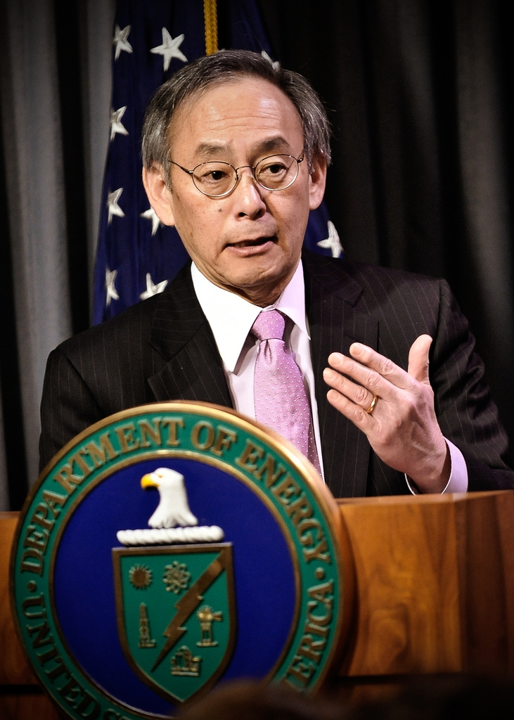 U.S. Secretary of Energy Steven Chu during an online town hall to discuss President Obama's clean energy and innovation agenda on January 11, 2011.   Photo by Charles Watkins, Contractor, Energy Department